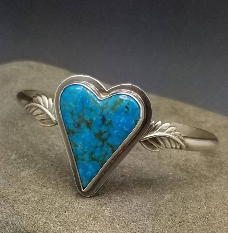 Heart on wings turquoise bangle cuff bracelet sterling silver image 0