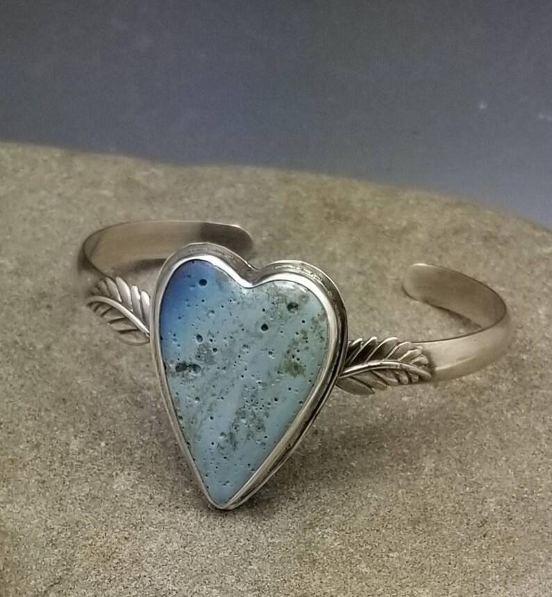Leland Blue Winged Heart Cuff Bracelet Sterling Silver Western image 0