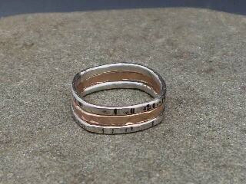 Mixed Metal Stack Rings Rose Gold Sterling Silver Squared Fit image 0