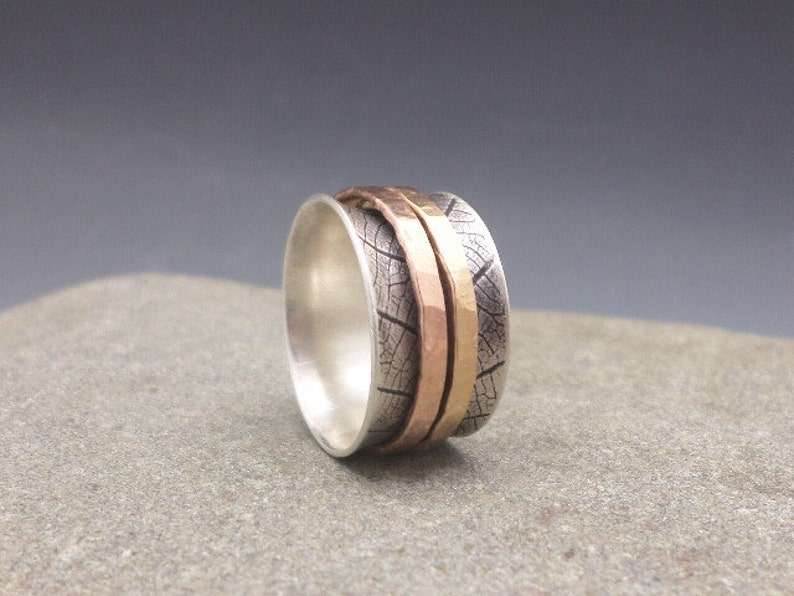 Leaf Print Spinner Ring Fidget Ring Worry Ring Meditation Ring image 0