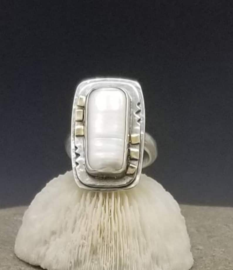 Pearl and mixed metal sterling silver and 14k gold ring ON image 0