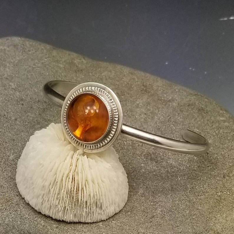 Amber and sterling silver cuff bangle bracelet image 0