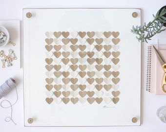 Wedding Guest Sign In Book, Wedding Guest Book Hearts, 3D Guest Book 3D, Guestbook Hearts Guest Book Alternative, Personalized Wedding