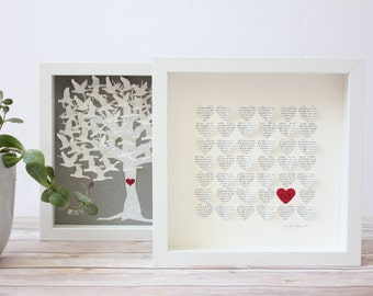 Bridal shower gift, gift for bride, Personalized Wedding Gift, framed hearts,  custom Song Lyrics, first dance song, personalized gift