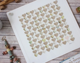 Baby Shower Guest Book Alternative / Peter Rabbit Baby Shower Guestbook Sign In / 3D framed hearts Guest Book / Vintage Baby