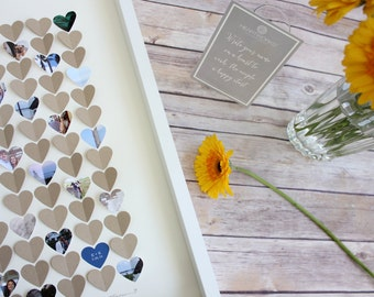 Wedding Guest book, Alternative Guest Book, Wedding Guestbook Frame, Heart Box Frame-Made with YOUR photos hearts