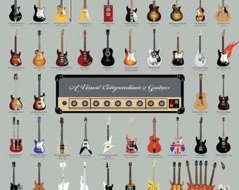 A Visual Compendium of Guitars Poster (18 x 24 Print)