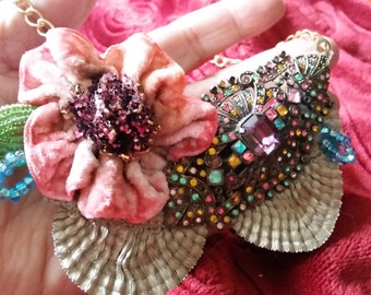 OOAK Brooch Necklace Hand Painted Handmade Geisha Face Kimono Miniature Doll with Antique Fabrics Mohair Hair Metal Fan Hand Dyed Flower