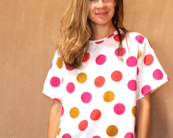 90s polka dot TANK top COLORFUL slouchy scoop neck blouse top vintage shirt womens