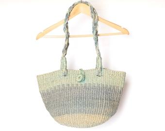 71434e721 southwest BLUE & green striped JUTE bag strap vintage bucket WOVEN bag