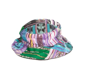 ce72b5eef52 90s hat COLOR BLOCK keith haring style bucket hat SOUTHWEST ikat print  color block patchwork bucket hat