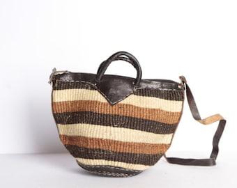 9dfac8f1e vintage southwest striped LEATHER JUTE bag strap vintage bucket WOVEN bag