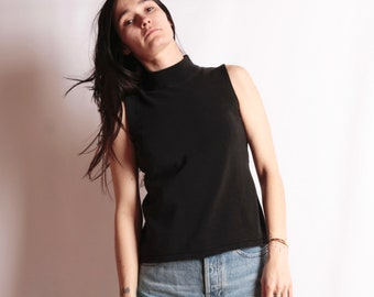 9b486728e272f 90s vintage BLACK mock turtleneck tank top sleeveless grunge top