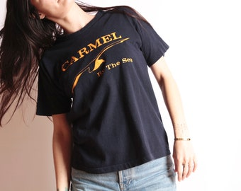 3feaabc86eb0 vintage CARMEL california vintage 80s sailing OCEAN life spell out t-shirt  size large CHAMPION brand t-shirt