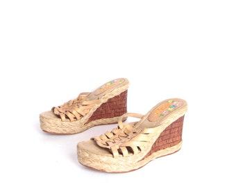 68cc92c46a vintage BONGO woven PLATFORM wedges SUMMER sandals size 6
