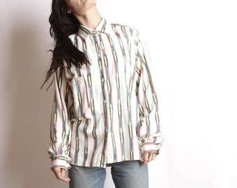 7354b695e4 bright cotton SOUTHWEST 90s flannel SLOUCHY ikat style TRIBAL pattern  womens shirt