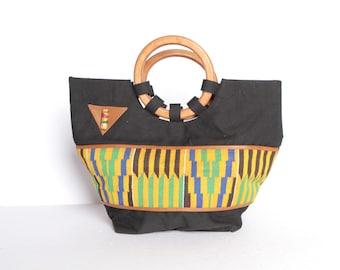 f2810155d1 vintage BAG purse mid century AFRICAN influenced bright WOODEN hoop purse  handbag -- excellent condition