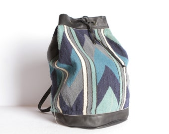 vintage IKAT southwest black LEATHER backpack vintage chevron stripe color  block backpack 1990s vintage 99ad1eb61b85a
