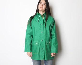 PVC Raincoat rainmac Veste réversible jaune bleu marine métal zip New Vintage