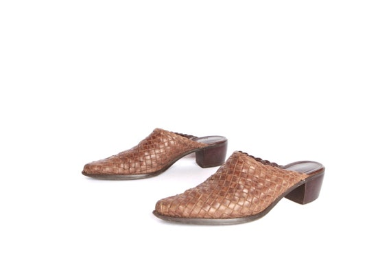 size size 7 vintage slip woven on 5 vintage leather heels desert PLATFORM booties 7 MULES 5 brown SOUTHWEST rrnxSqUwZ
