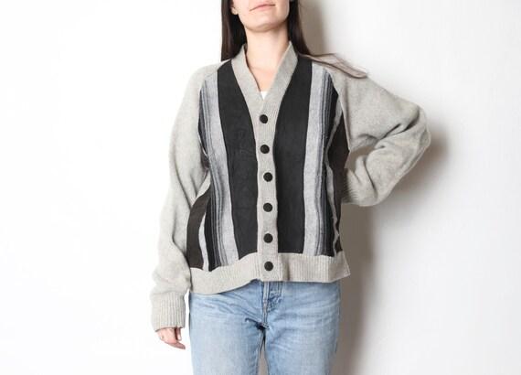 vintage wool & suede CARDIGAN warm cozy WINTER ca… - image 2