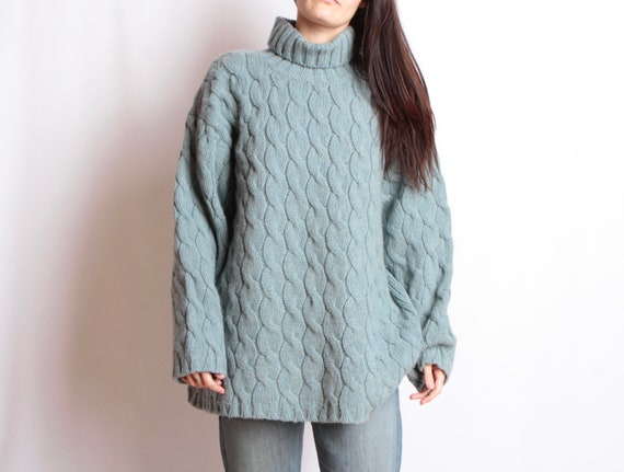 vintage TWIN PEAKS knit turtleneck mint huge overs