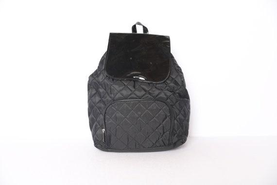 VTG Y2K Black Drawstring Rucksack Vintage 90/'s Black Midi Backpack