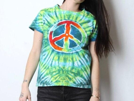 vintage PEACE symbol y2k late 90s SUMMER tie dye … - image 2