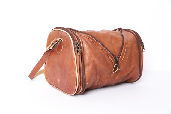 vintage 1960s 70s brown leather MINI leather DUFFE
