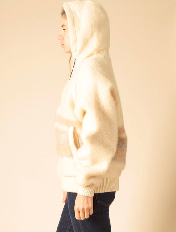 women's striped parka coat JACKET vintage wear WINTER fuzzy CREAM soft vintage hooded 80s qP14a