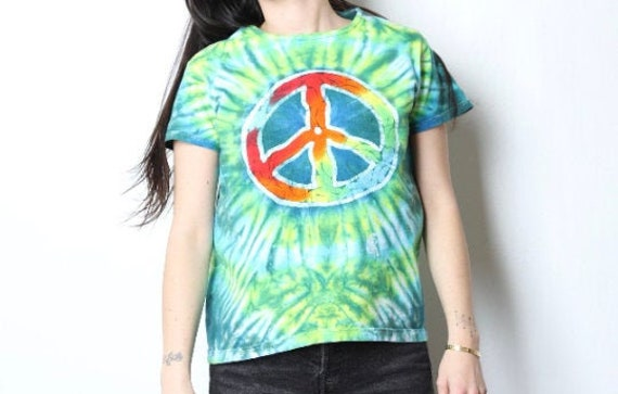 vintage PEACE symbol y2k late 90s SUMMER tie dye … - image 3