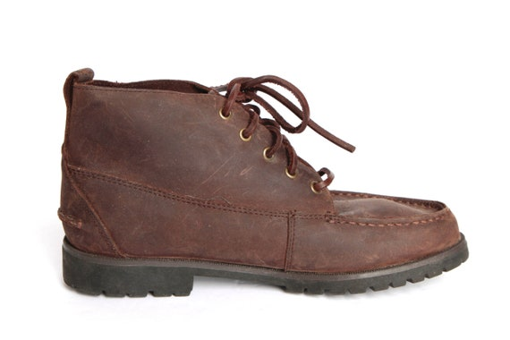 8 5 Size Brown LEATHER 80s 90s shoes women's CHUKKA boot ankle grunge FqxxCZd
