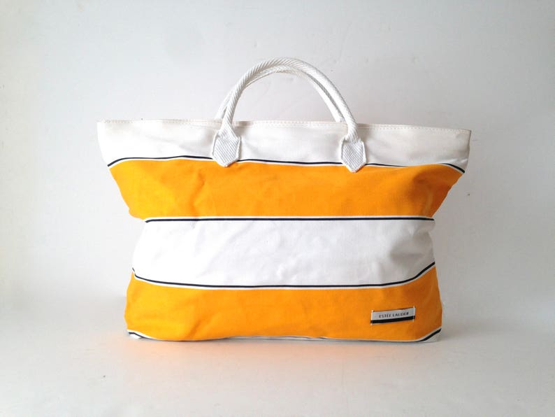90s BEACH tote yellow & white BOATING striped oversize large image 0