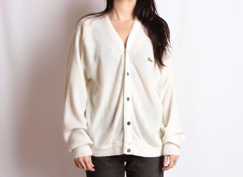 aa3da1d5ce32b Vintage IZOD lacoste WHITE slouchy kurt cobain 90s sweater