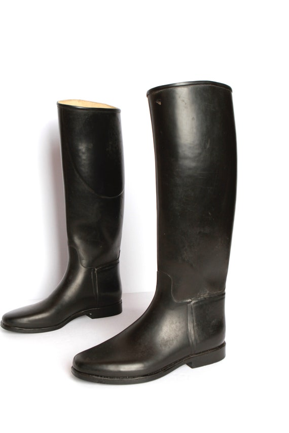 5 German vintage size high Riding EQUESTRIAN KNEE 7 rubber black Boots women's size 38 boots Fa1nF7