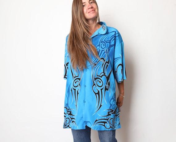 vintage late 90s FLAME samurai dragon BLACK /& red silky y2k swingers sleeveless vintage shirt size medium
