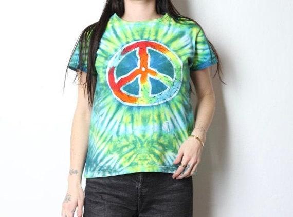 vintage PEACE symbol y2k late 90s SUMMER tie dye … - image 1
