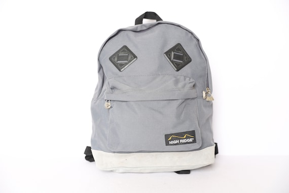 GREY vintage backpack jansport style 1980s nylon &