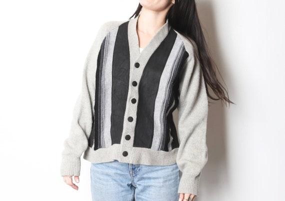 vintage wool & suede CARDIGAN warm cozy WINTER ca… - image 1