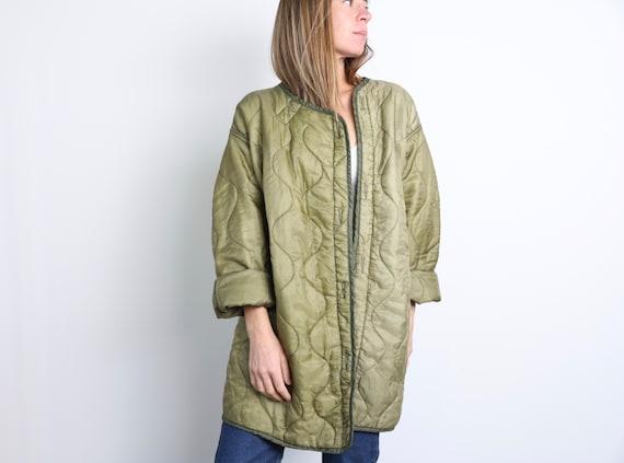 vintage QUILTED Liner jacket Olive green military