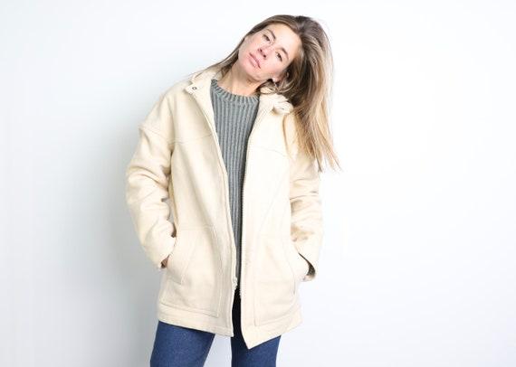 vintage MID-CENTURY cream jacket hoodie parka 1950