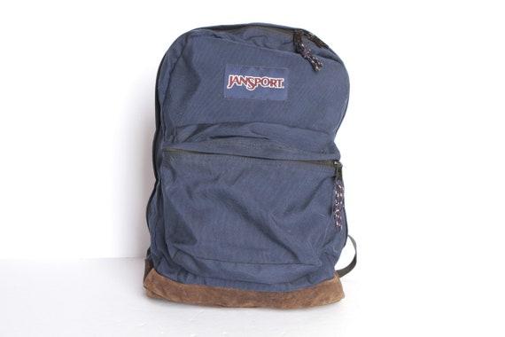 jansport 90s blue LEATHER & canvas RUCKSACK backpa