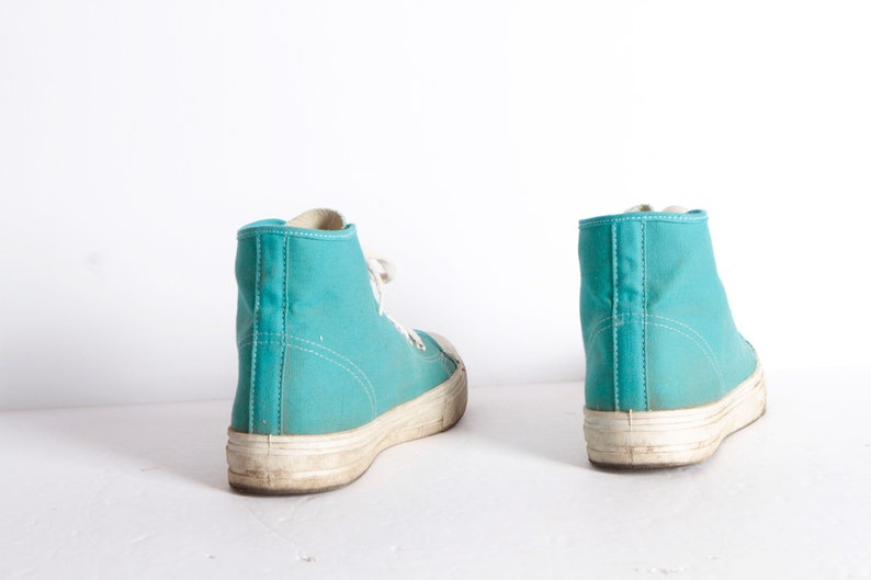09129685a3aa Vintage CONVERSE style mid century high tops CLASSIC teal