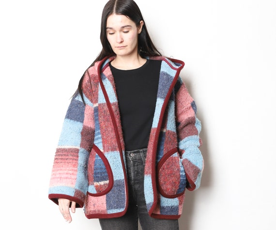 vintage MID-CENTURY sweater jacket wrap hoodie par