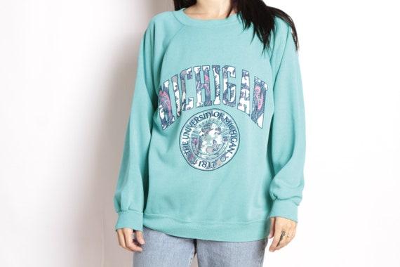 90s University of Michigan football teal blue pullover vintage 1990s sweatshirt pullover blue raglan top 814666