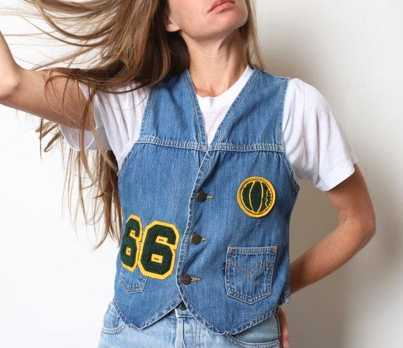 vintage LEVI'S denim faded mid 60s jacket vest --