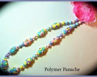 Summer Fun Polymer Clay Handcrafted Necklace 20 in. Each Bead Individually Created in Pretty Pastels Summer Necklace