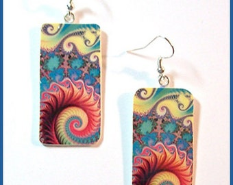 Earrings Fractal Art 1 1/2 L. x 3/4 W. Digital Image Transfer Polymer Clay Handcrafted  Resin Finish