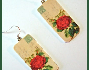 """Red Rose Blossom Earrings 1"""" W x 2"""" L Polymer Clay Image Transfer Digital Art Handcrafted Dangle Earrings"""