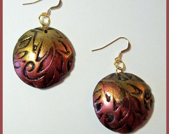 Earrings Polymer Clay 14K Gold filled Earwires Polymer Clay Mica Powders